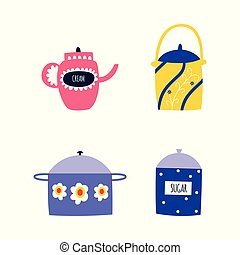 Set of cooking utensils and tableware in flat cartoon style