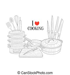 Set Of Cooking Utensils Hand Drawn Realistic Sketch
