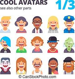 Set of cool flat avatars.