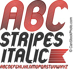 Set of cool vector upper case English alphabet letters isolated. Funky bold italic font, typescript for use in logo design. Created using stripy, parallel lines.