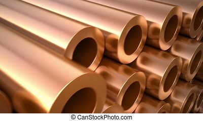 Set of copper pipes and tubes. Loop motion 3d animation for...