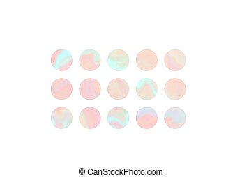 Set of coral and teal hologram circle background