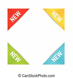 Set of Corner New Labels in Different Colors