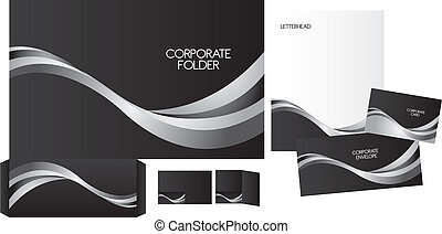 set of corporate identity over white background. vector