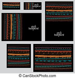 Set of corporate identity templates in ethnic tribal style