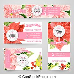 Set of corporate identity templates with beauty flowers