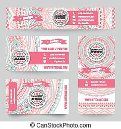 Set of corporate identity templates with doodles tribal theme