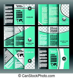 Set of corporate trifold brochure templates design. With world map infographic element and place for photo.