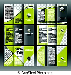 Set of corporate trifold brochure templates design. With world map infographic element and place for photo
