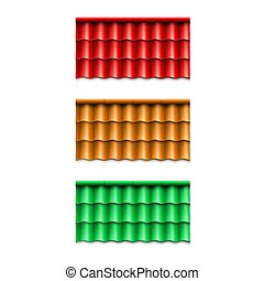 Set of corrugated roof tile. Modern roof coverings. Vector illustration isolated on white background