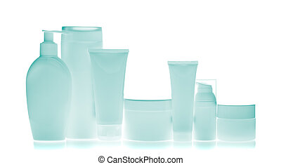 cosmetic bottles - set of cosmetic bottles isolated on white...