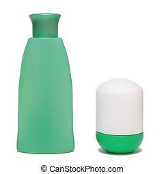 Set of cosmetic bottles.