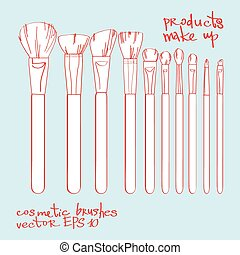 set of cosmetic brushes
