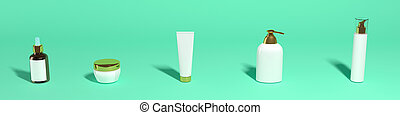 set of cosmetic jars on a green background, banner, mocap