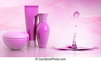 set of cosmetic products and water droplet