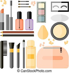 Set Of cosmetic products vector isolated objects