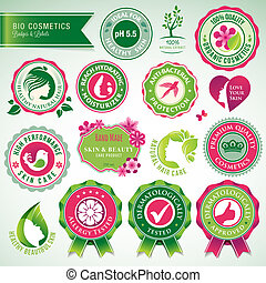 Set of cosmetics badges and labels - Set of vector badges...