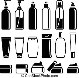 Set of cosmetics bottles. Vector illustrations.