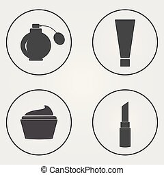 Set of cosmetics icons. Vector illustration. Eps 10