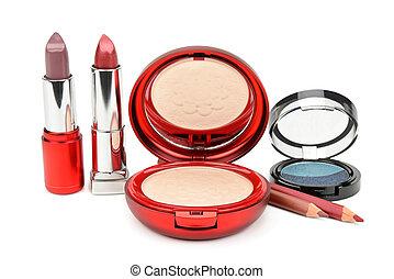 set of cosmetics isolated on white background