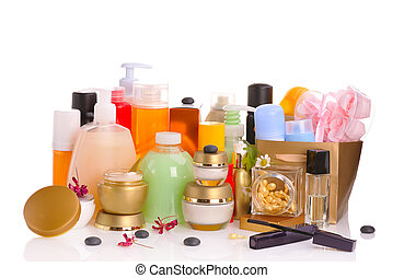 set of cosmetics - large set of various cosmetics isolated ...
