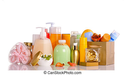 set of cosmetics - large set of various cosmetics isolated...