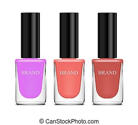 Set of cosmetics, nail polish, beige, brown and purple, glass bottle on a white background. 3d vector realistic, isolates