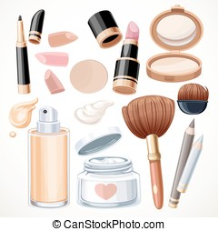 Set of cosmetics objects - Set of cosmetics bjects cream,...