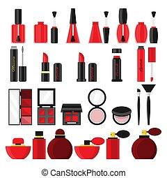 Set of cosmetics objects in flat style. Vector illustration for design