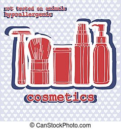 set of cosmetics. sticker