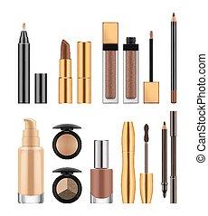 Set of cosmetics, vector realistic illustration