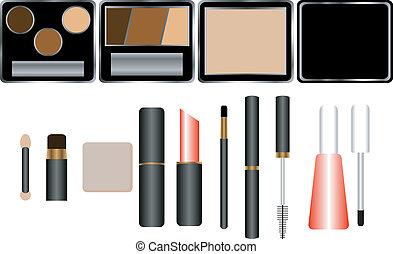 Set of Cosmetics with Applicators
