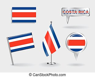 Set of Costa Rican pin, icon and map pointer flags. Vector...