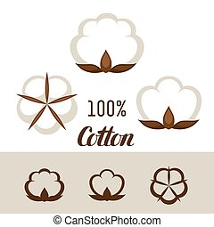 Set of cotton icons. Emblems for clothing and production