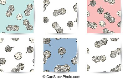 Set of cotton yarn and candles comic style doodles top view seamless border patterns. Collection of cozy boho template background texture tiles