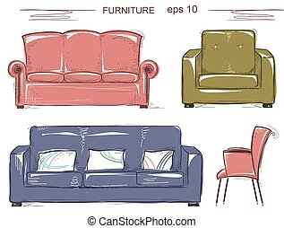Set of couch and armchairs.Vector color sketchy furnitures...
