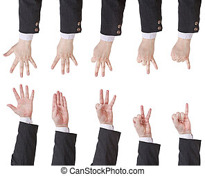 set of counting businessman hand