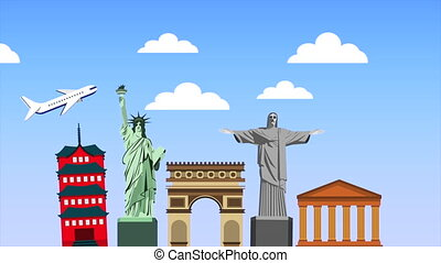 set of country monuments animation