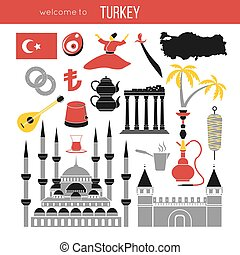 Set of country Turkey culture and traditional symbols.