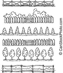 Set of countryside style hand drawn dividers, vector sketch