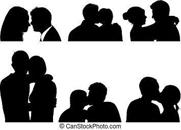 Set of couple in different position