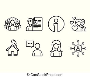 Couple, Woman and Women group icons. Job interview, Users chat and Networking signs.