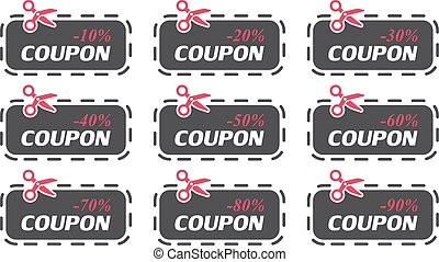 Set of coupon sale collection. Vector illustration