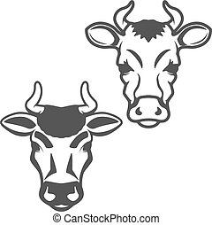 Set of cow heads isolated on white background. Design elements f
