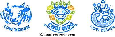 Set of cow logos.