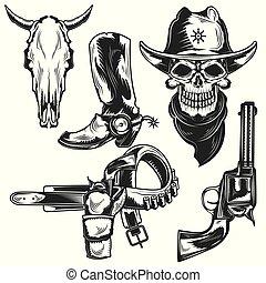 Set of cowboy elements
