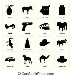 Set of cowboy hat, camel, police car, alligator, train, shrimp, wolf face, beehive icons