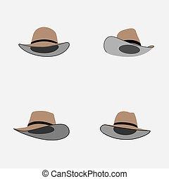 set of cowboy hat flat vector illustration.eps