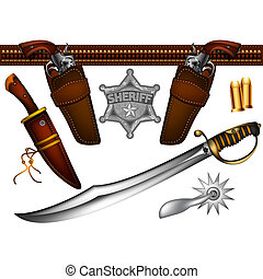 set of cowboy weapons and accessories, this illustration may be useful as designer work