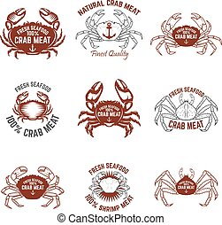 Set of crab meat labels. Fresh seafood. Design elements for...